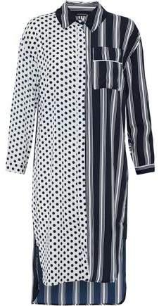 W118 By Walter Baker Nancy Paneled Ruffle-Trimmed Printed Crepe De Chine Shirt Dress