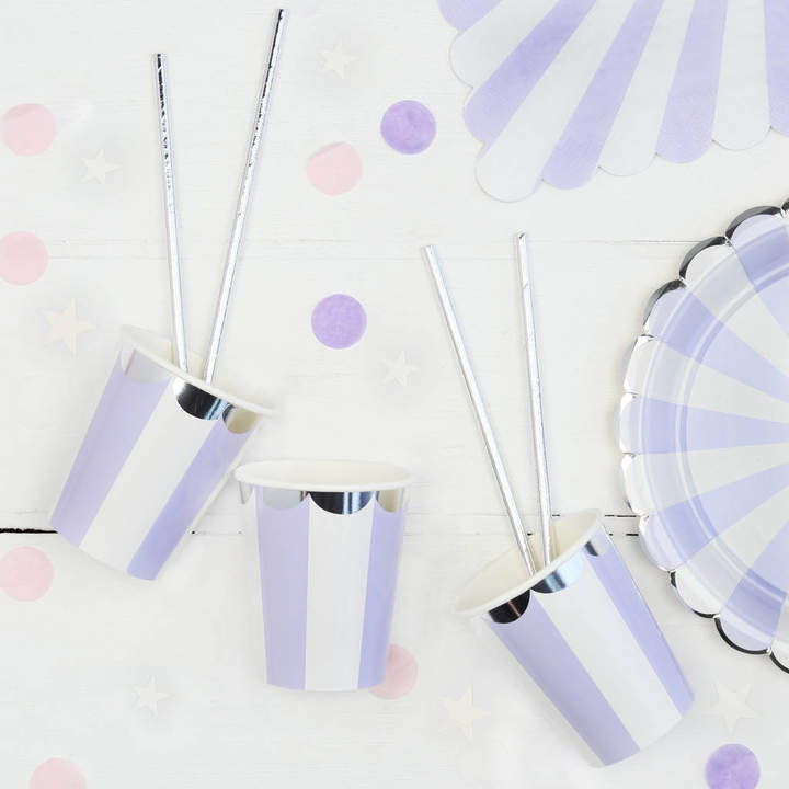Postbox Party Lilac And White Stripe Party Cups