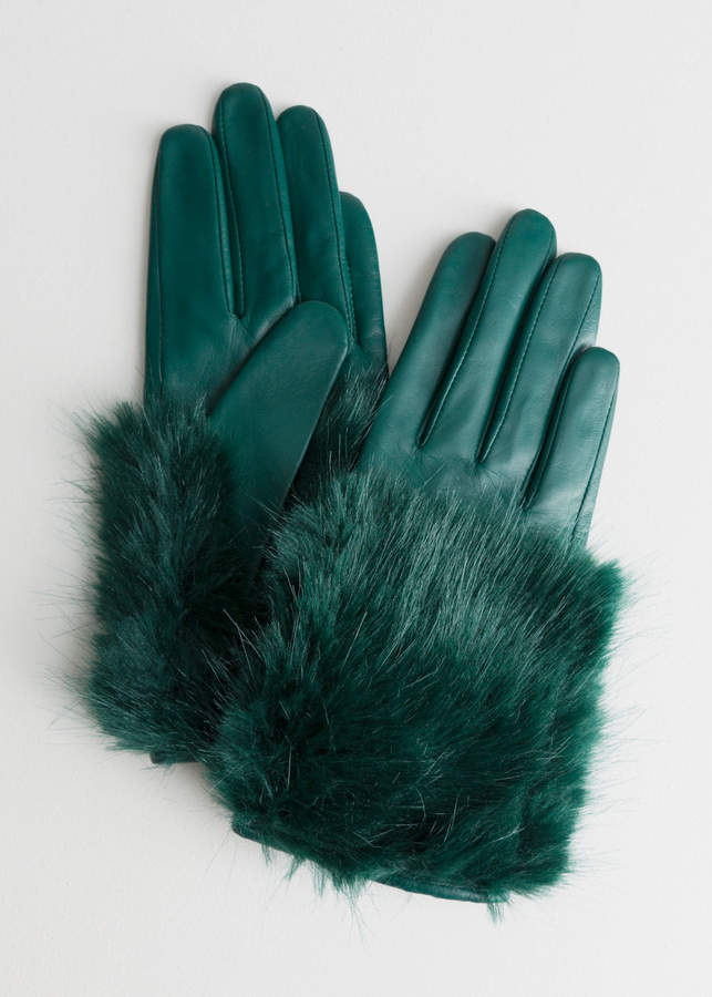 And other stories Faux Fur Leather Gloves