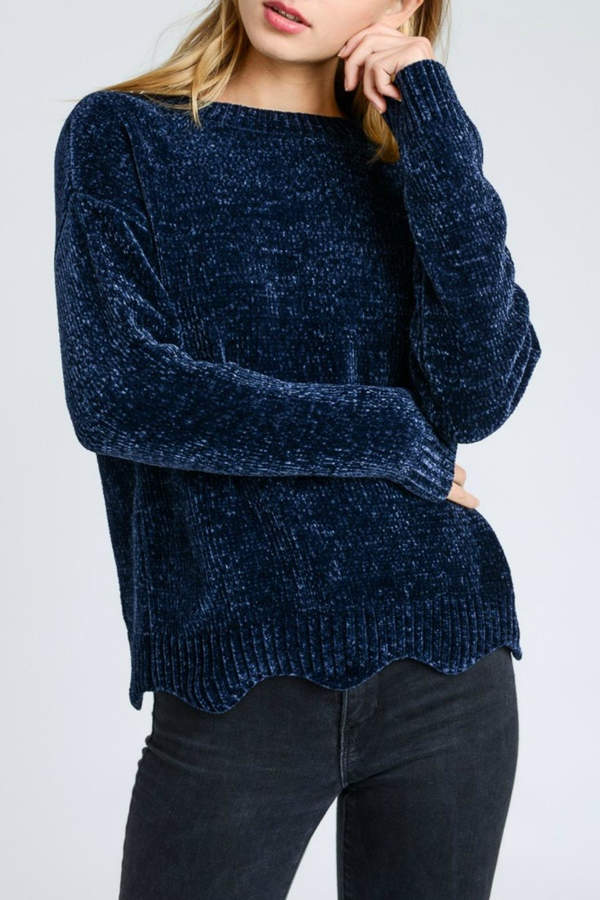 Love Tree Navy Chenille Sweater