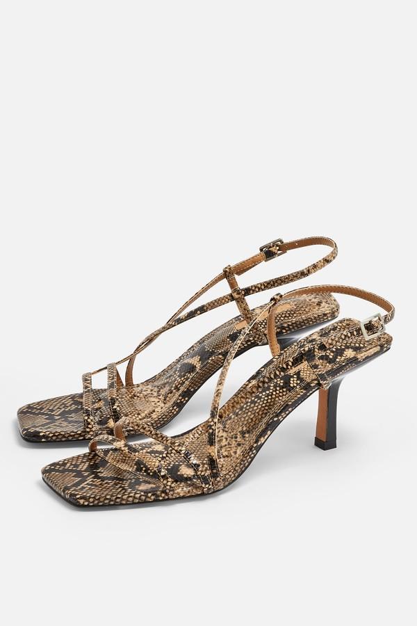 Topshop Womens Strippy Snake Heeled Sandals - Multi