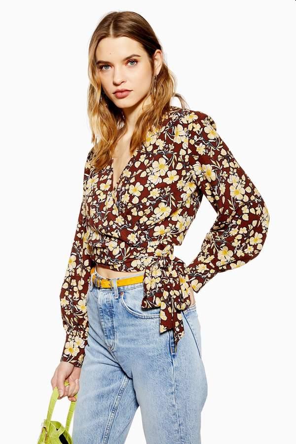 Topshop Womens Floral Wrap Crop Blouse - Brown
