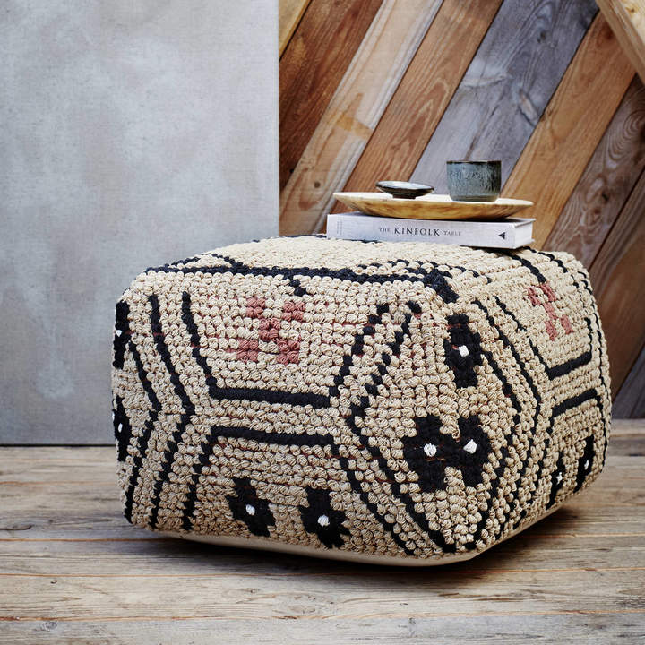 The Forest & Co Woven Boho Pouffe