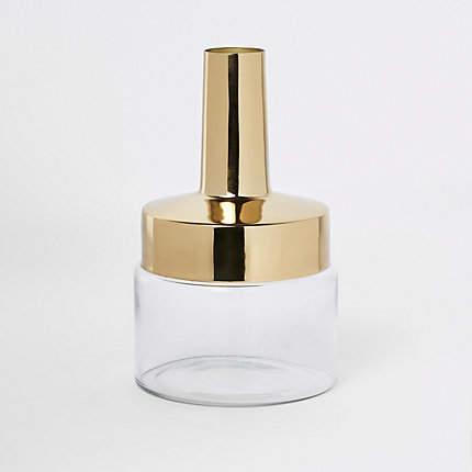 Gold top glass vase