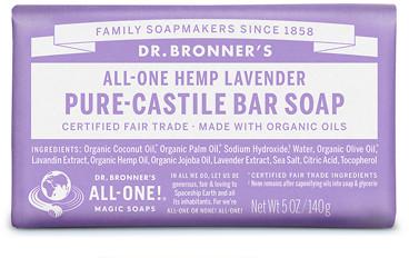 Dr Bronner's All-One Hemp Lavender Pure-Castile Bar Soap 140g