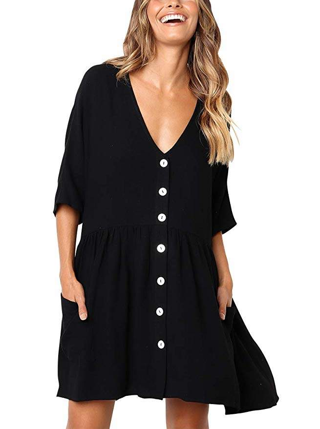 BELONGSCI Women's Casual Dress Half Sleeve Button Down V-Neck Pocketed Loose T-Shirt Dress Oversized Dress Shift Dress