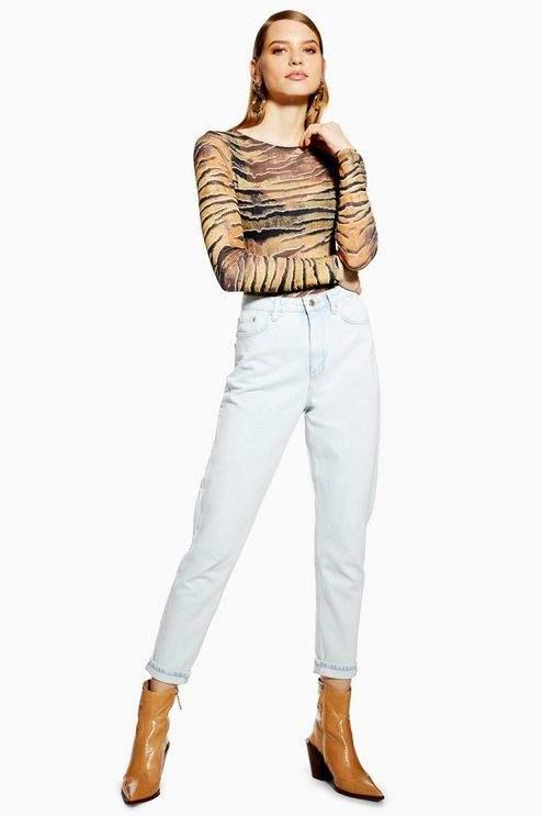 Topshop Womens Super Bleach Mom Jeans