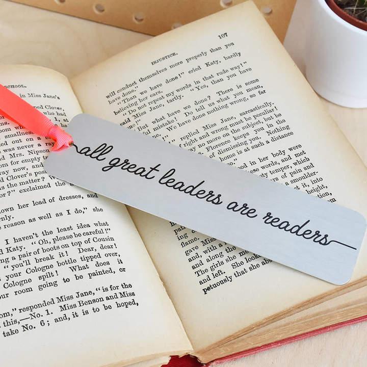 Ellie Ellie 'All Great Leaders Are Readers' Metal Bookmark