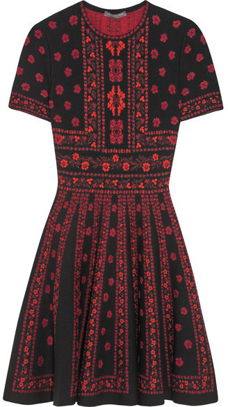 Alexander McQueen Jacquard-knit Mini Dress - Red