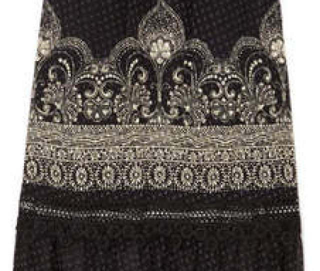 Anna Sui Fountains Of Fancy Printed Fil Coupe Silk Blend Chiffon Maxi Skirt Black
