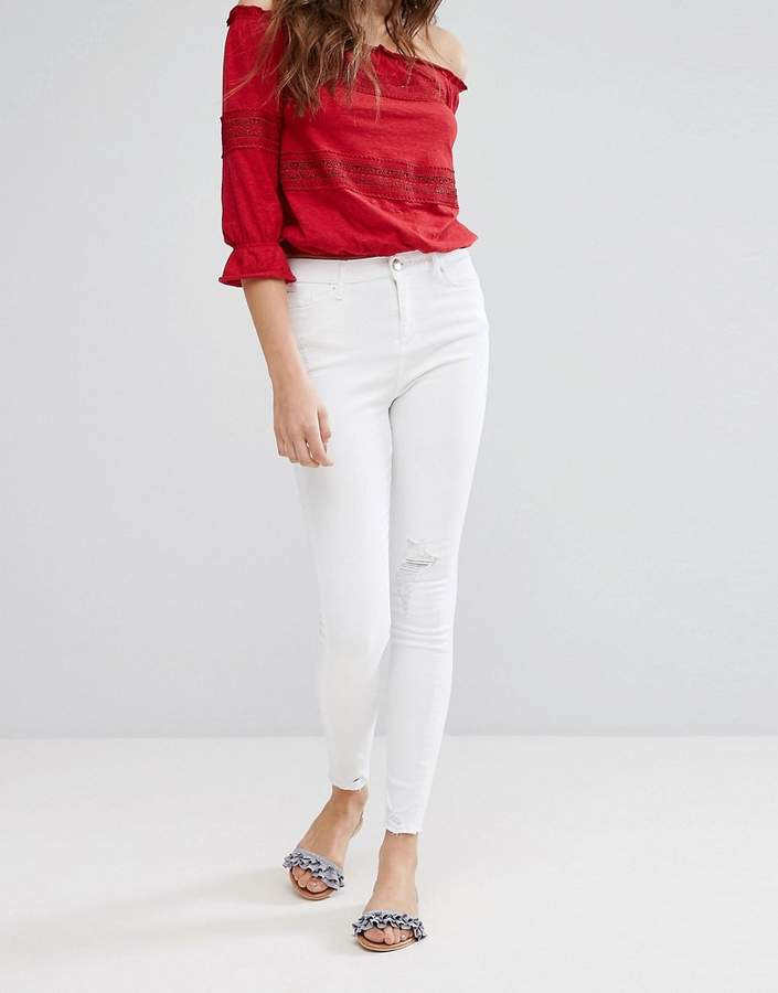 Miss Selfridge Frayed Hem Skinny Jeans