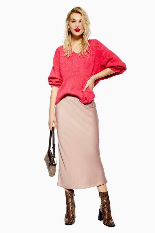 Topshop Womens Satin Bias Midi Skirt
