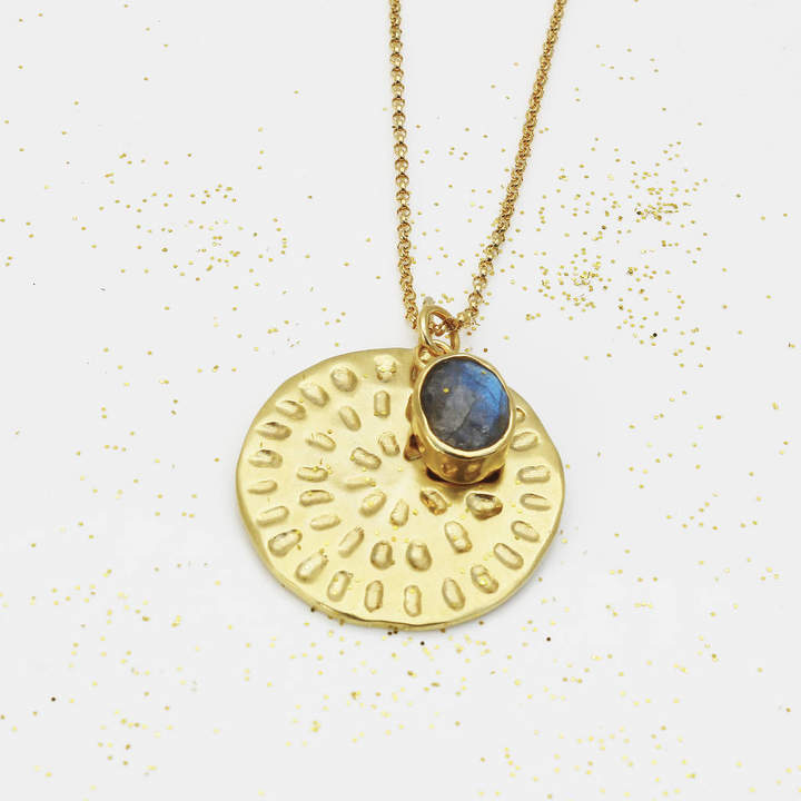 Yvonne Henderson Jewellery Gold Moroccan Inspired Necklace With Labradorite Charm