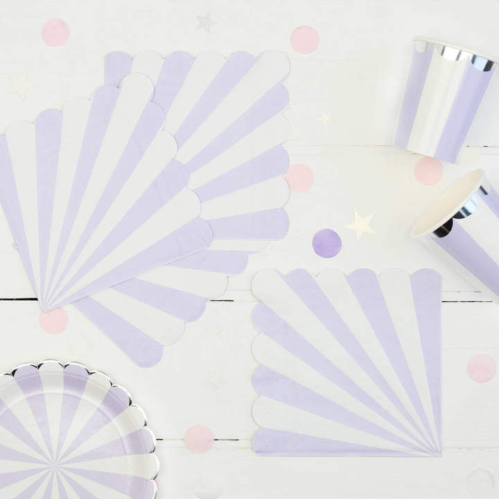 Postbox Party Lilac And White Stripe Party Napkins