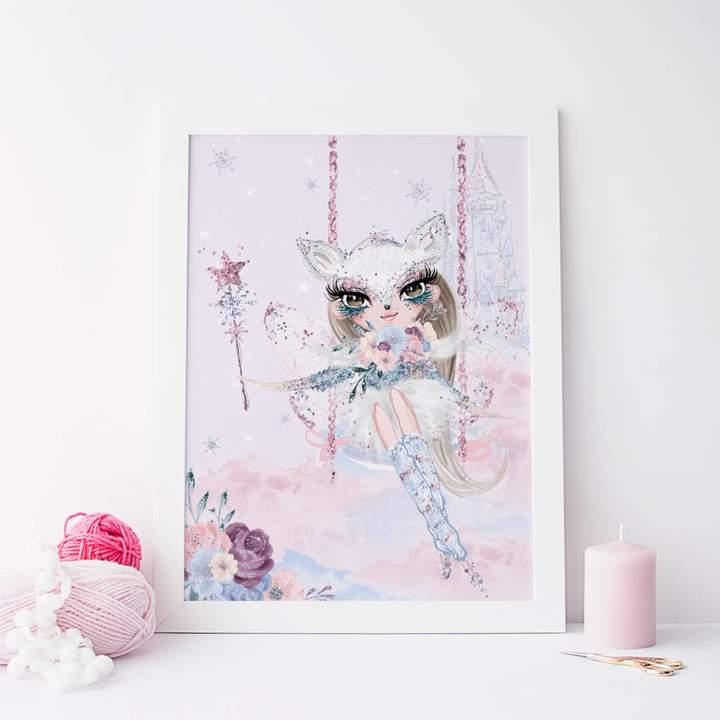 PRINTS279 Magical Fairy Castle Children's Colourful Pastel Print