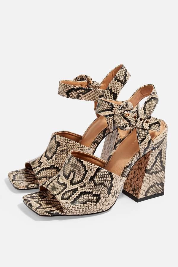 Topshop Womens Sahara Snake Heeled Sandals - Natural