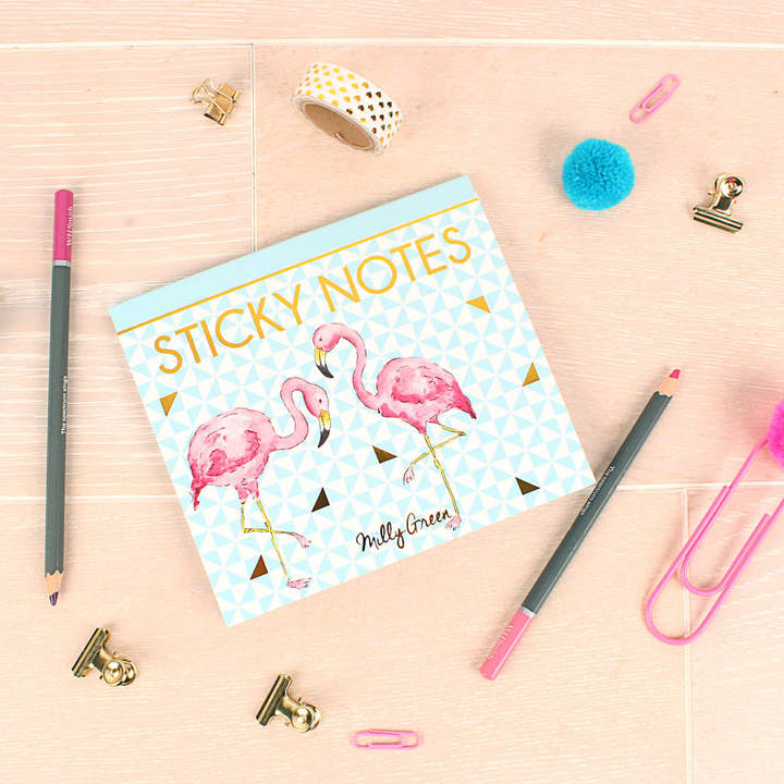 Milly Green Tropical Flamingo Sticky Notes
