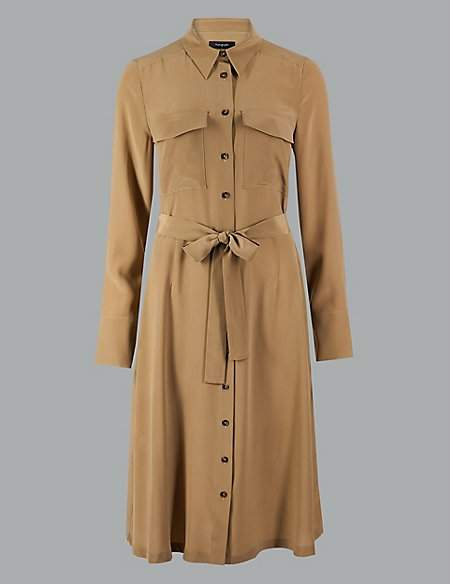 Autograph Pure Silk Long Sleeve Shirt Midi Dress