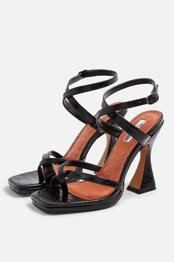 Topshop Womens Rock Sculpt Heel Sandals - Black