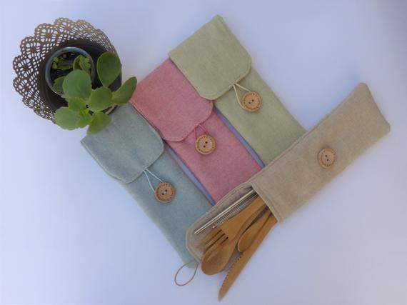Travel Cutlery pouch - Bamboo cutlery and stainless steel straw