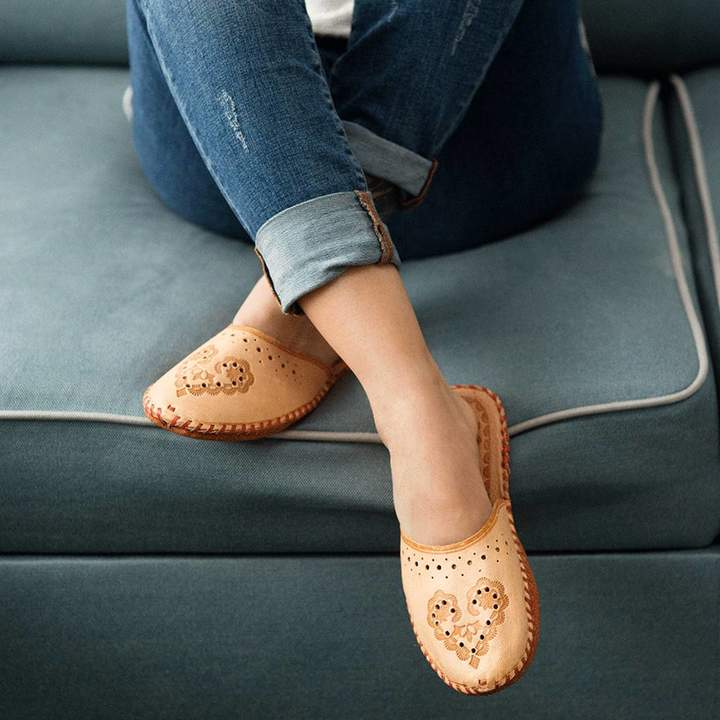 Sheepers Ladies Leather Boho Closed Toe Slippers