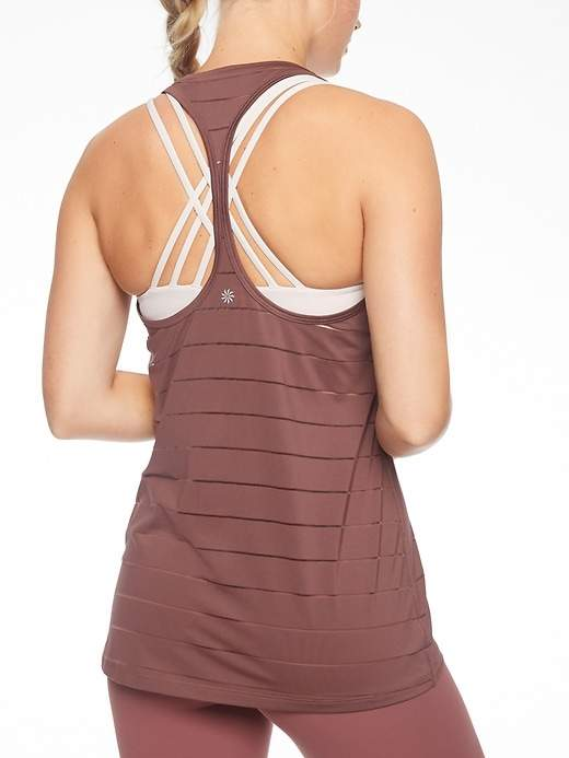 Stripe Mesh High Neck Chi Tank