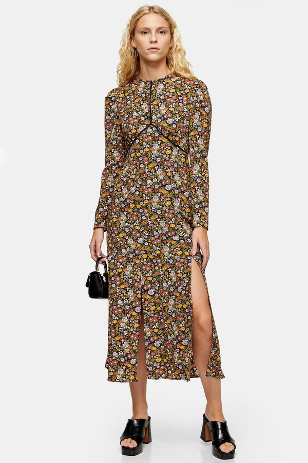 Vintage Floral Piped Midi Dress