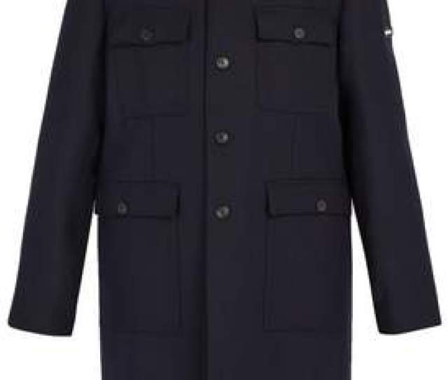 Com  C2 B7 Balenciaga Military Single Breasted Wool Coat Mens Navy