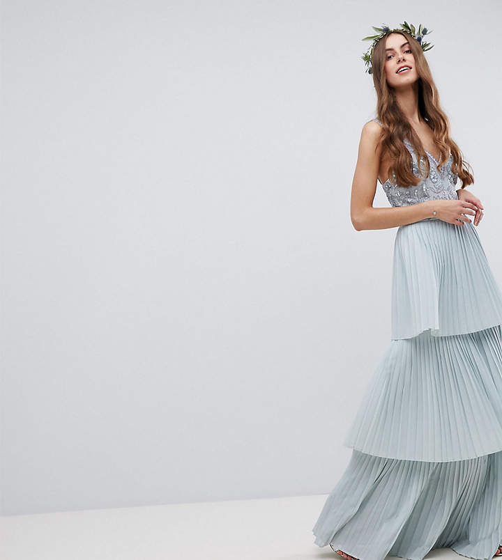 Maya Tall Floral Sequin Top Maxi Bridesmaid Dress With Tiered Ruffle Pleated Skirt