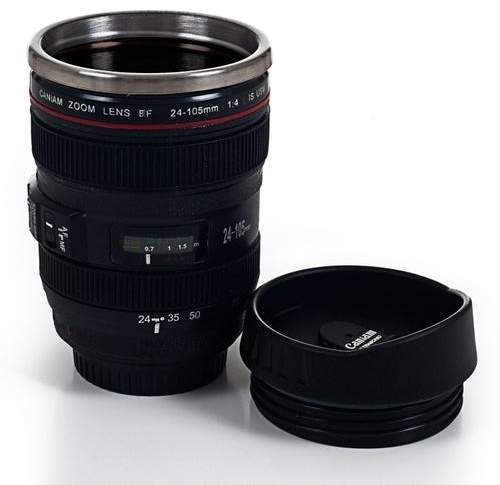 Pier 1 Imports Camera Lens Coffee Mug with Lid Set of 2