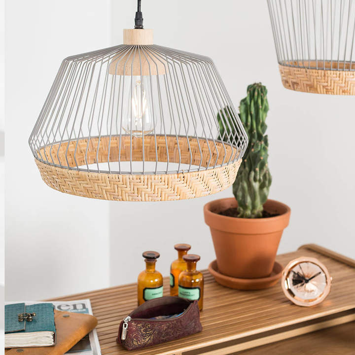 Cuckooland Birdy Wire Pendant Light With Braided Rattan Border