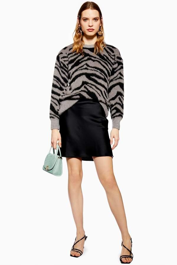Topshop Womens Satin Bias Mini Skirt - Black