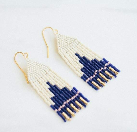 Seed Bead Earrings | Beadwoven Earrings | Beaded Fringe Earrings