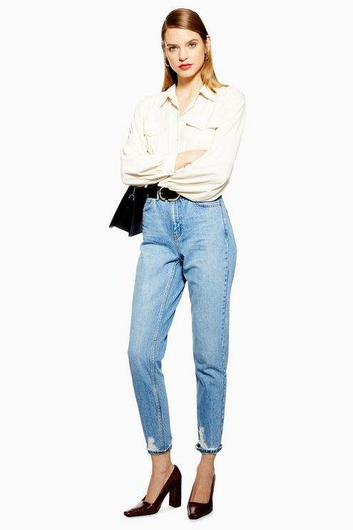 Topshop Womens Bleach Ripped Hem Mom Jeans - Bleach Stone