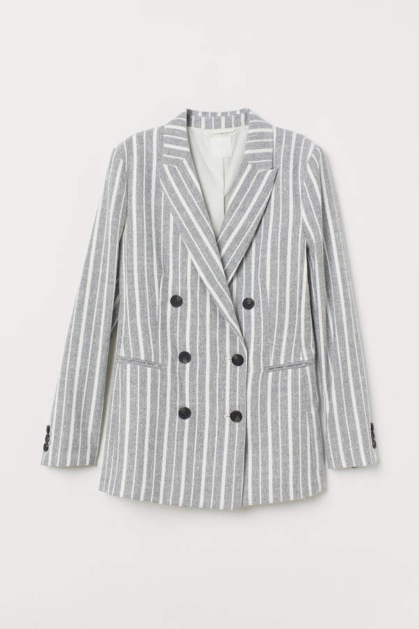 H&M - Double-breasted Jacket - Gray