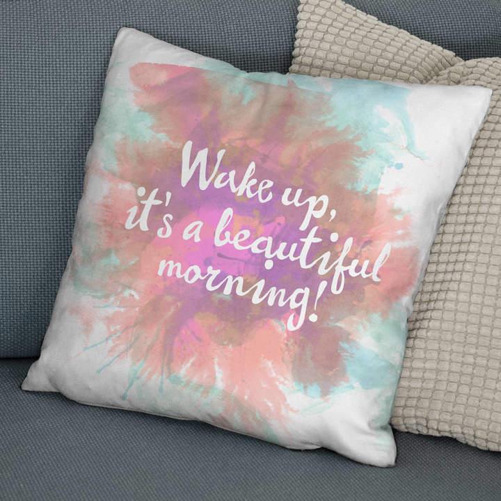 The Drifting Bear Co. 'Beautiful Morning' Positive Quote Print Cushion