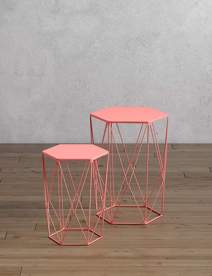 Marks and Spencer Wire Nest of Tables Coral