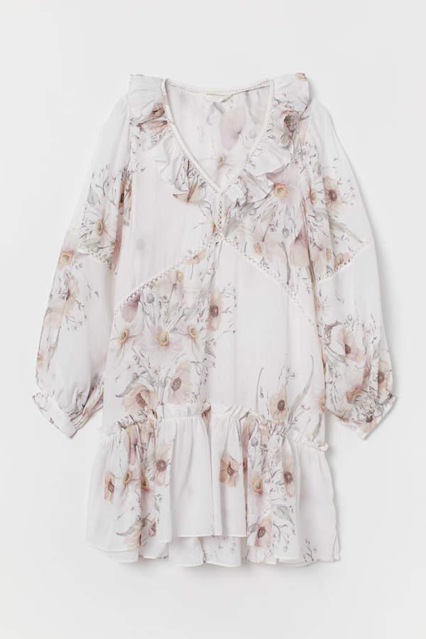 H&M - Flounced Dress - White