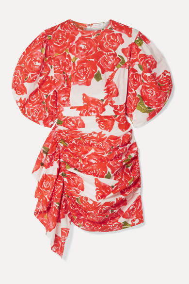Rhode - Pia Ruched Floral-print Cotton-voile Mini Dress - Red