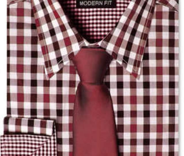At Macys  C B Nick Graham Men Modern Fitted Multi Gingham Dress Shirt Solid Tie Set