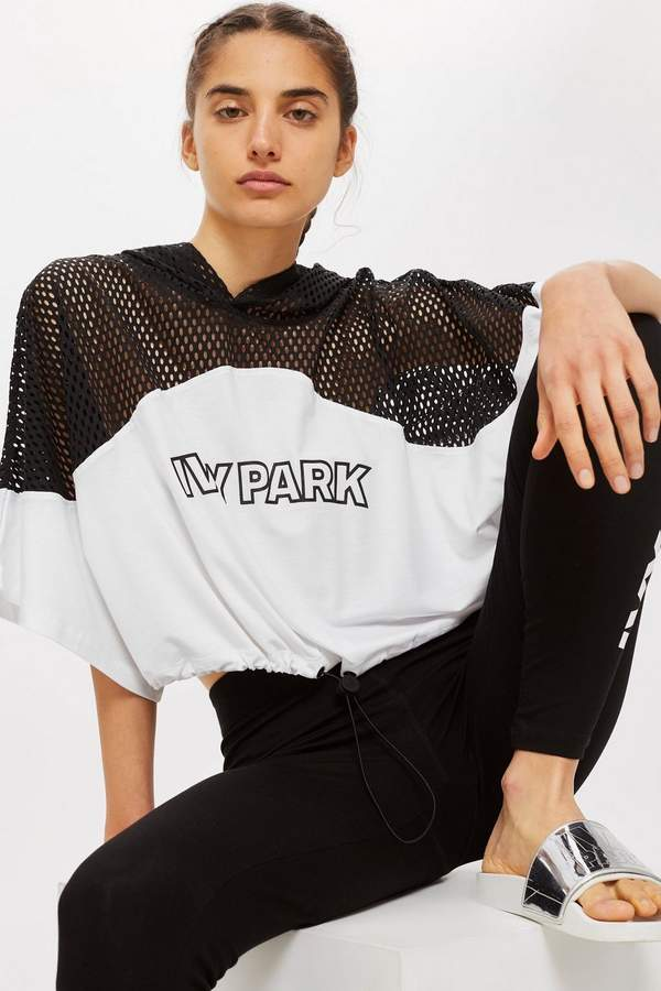 Mesh Hooded Crop T-shirt by Ivy Park