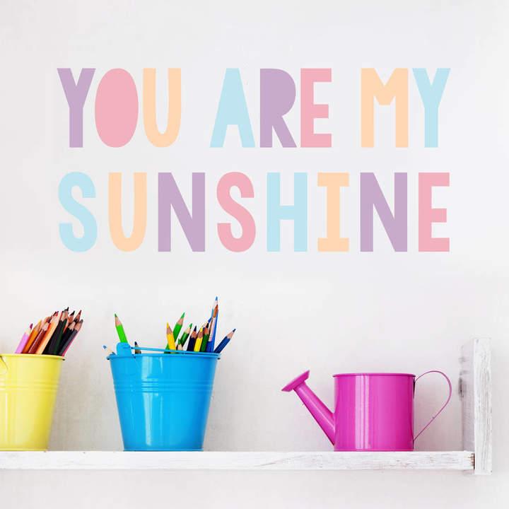 Oakdene Designs 'You Are My Sunshine' Pastel Children's Wall Sticker
