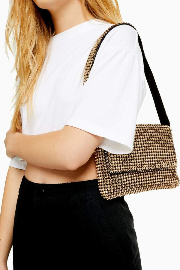 Topshop Womens Serena Chainmail Shoulder Bag - Gold