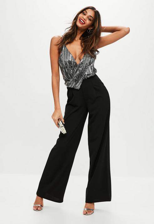 Black Sequin Wide Leg Jumpsuit, Grey