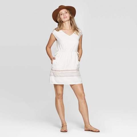 Women's V-Neck Short Sleeve Border Print Elastic Waist Dress - Universal ThreadTM Cream
