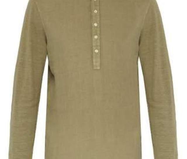 Com  C B  Lino Henley Long Sleeved Linen T Shirt Mens Khaki