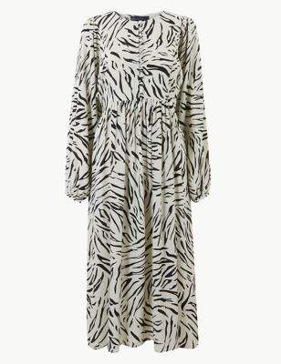 Animal Print Long Sleeve Relaxed Midi Dress