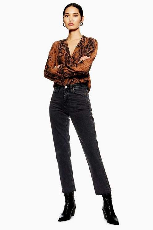 Topshop Womens Tall Washed Black Raw Hem Straight Jeans