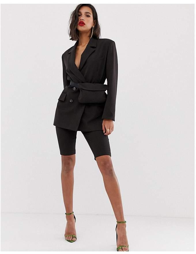 Asos Design ASOS DESIGN dad suit blazer in chocolate brown with bumbag
