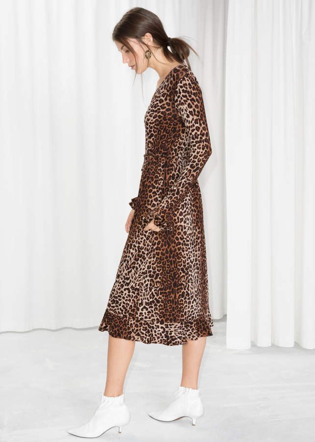 And other stories Leopard Print Midi Dress